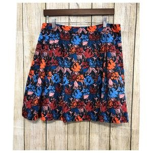 J Crew Skirt Floral Pleated Flare Multicolor